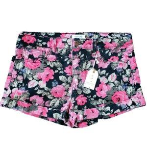 Forever 21 Floral Denim Shorts Size 29 Black Coral